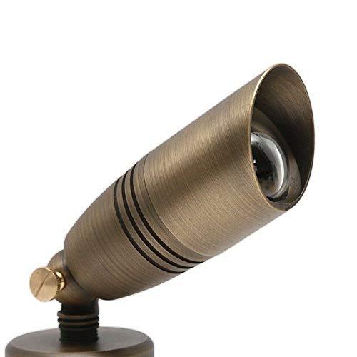 arrownine Low Voltage Antik Messing Bullet Form uplighting Landschaft Leuchten inklusive 5Watt 2700K warm weiß MR16LED Leuchtmittel -