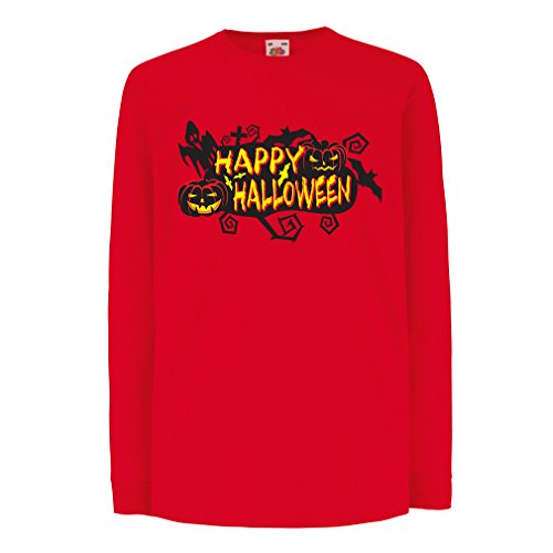 (Kinder-T-Shirt mit Langen Ärmeln Owls, Bats, Ghosts, Pumpkins - Halloween Outfit Full of Spookiness (5-6 Years Rot Mehrfarben))
