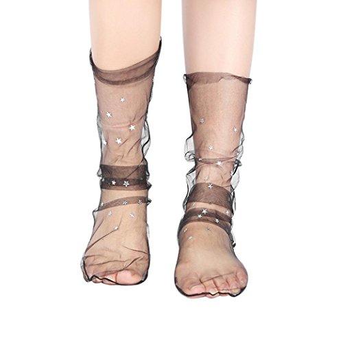 Damen Glitter Star Soft Mesh Sock Sheer Ankle Kurz Netzstrumpf Kristall Spitze Socken Transparente Lace Strumpf Spitzensocken Gothic Sommer Japanischer Stil Ultradünne Perle Dekoration (B Schwarz) (Fisch Netz Legging)