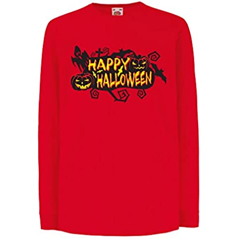 N4638D Bambini t-shirt con maniche lunghe Happy Halloween!