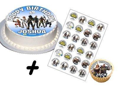 """Fortnite Party Set Birthday Cake Topper (Round 7.5"""" v2)"""
