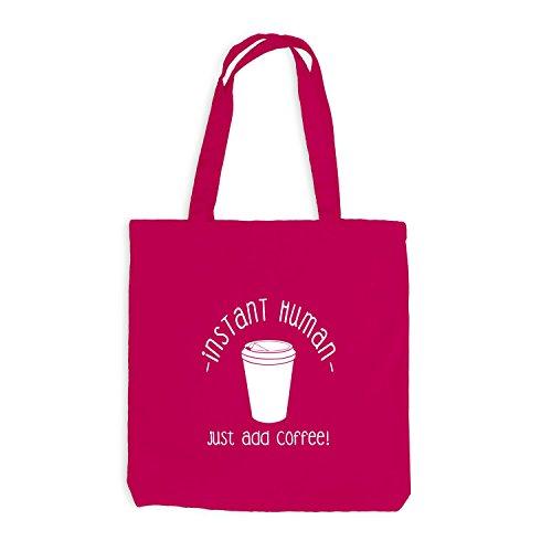 Jutebeutel - Just Coffee Human - Fun Work Office Kaffee Pink