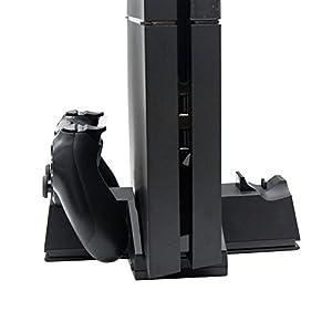 OSTENT 3 in 1 Multi Funktion Ladegerät Dock Stand kompatibel für Sony PS4 Konsole