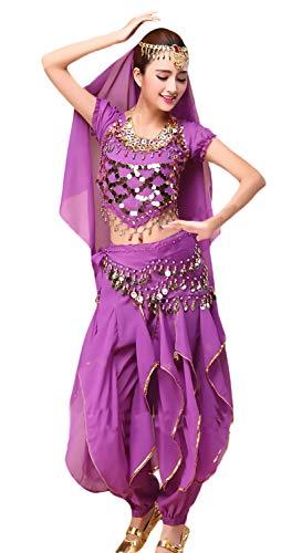 Saoye Fashion Damen Bauchtanz Kostüm Indischen Tanz 4-Teilig -