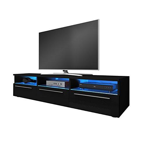 Meuble TV Table TV Blue LED Noir Brillant GALIO
