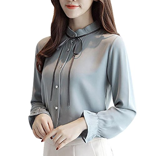 ace up Solid Langarm Chiffon Floral Arbeit Fliege Shirt Top Bluse ()