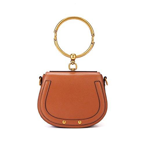 Damen Echtes Leder Cross-Body Handtaschen Sattel Stil Armband Umhängetasche-Fashion Mini Metall Ring Umhängetasche - Schwarz,Brown-19*8*16cm (Ring-stil-handtasche)