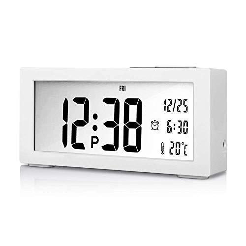 Goldfox® Premium Klavierlack LCD Digital Wecker Uhr mit Datum Temperatur Kalender Snooze Nachtlicht Anzeige (Moderne Uhr Und Kalender)
