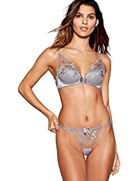 34cdeb3e1137a Reger by Janet Reger Grey Embroidered Mesh High Apex Underwired Padded  Plunge Bra