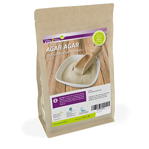 Agar Agar 200g im Zippbeutel - Glutenfrei - feines Agar Pulver in Lebensmittelqualität pflanzliche Gelatine - Premium Qualität - Bambus-pulver
