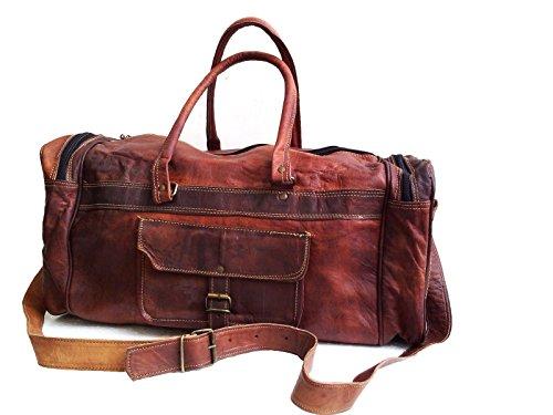 20 Zoll Herren Groß Leder Tasche Weekender Vintage-Stil Gepäck ReisetascheGeräumige Sporttasche Duffle Tasche Wochenendtrip Handgepäck Freizeittasche Gymbag für Männer und Frauen -