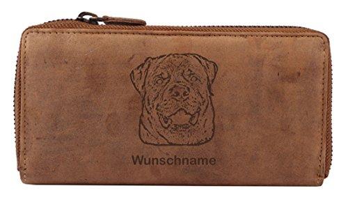 Greenburry Damen-Geldbörse PERSONALISIERT mit Hunde-Motiv Rottweiler, Leder Damen-Geldbeutel (Rottweiler Geldbörse)