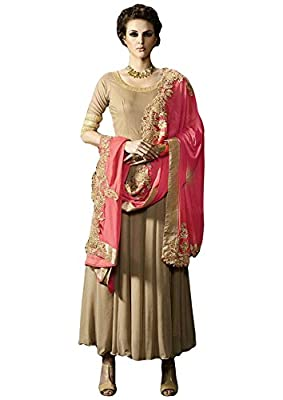 Ethnic Wings BEIGE COLOR LATEST INDIAN DESIGNER ANARKALI SALWAR KAMEEZ DRESS TOP-SEMI-STITCHED , BOTTOM-UNSTITCHED - Being this collection is semi stitched and free size, max chest set up to 44 inches. wash care :dry clean