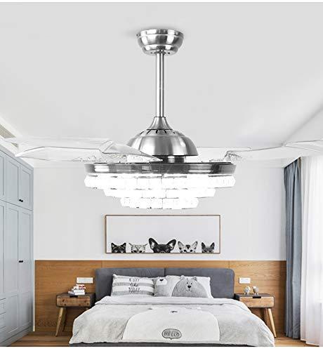 AXIU Ventilatori a soffitto da 42 Pollici con Ventilatore a soffitto a LED Retrattile Leggero 4 Pale Ventilatore a candeliere di Cristallo Moderno Bianco con Telecomando Lampadari