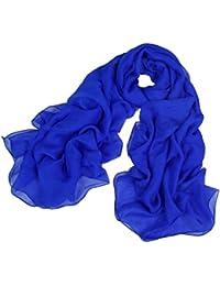 Pure blue Ladies Chiffon Silk Shawl Scarves, 180 * 110 cm