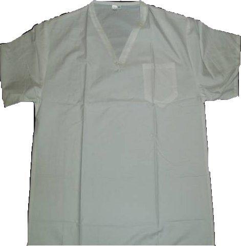Kochhemd mit V-Ausschnitt - Brusttasche - Weiß - Größe 50-52 (L) (Schürze V-ausschnitt)
