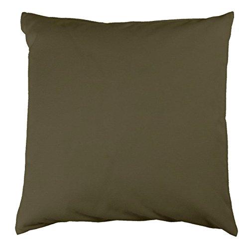 Kissenbezug 50x50 cm, Uni Khaki, Baumwolle Canvas, Reißverschluss, hochwertig, robust, strapazierfähig, langlebig