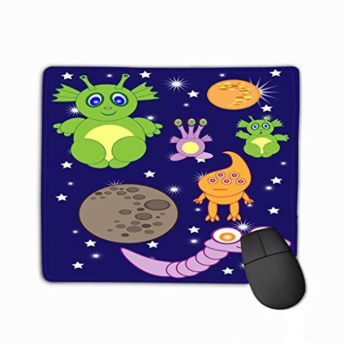 te Rocket Planets Comets Cartoon Cute Space Astronauts Aliens Rocket Geometric Rectangle Rubber Mousepad 11.81 X 9.84 Inch ()
