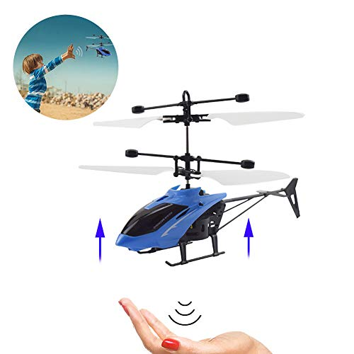 1PC Mini RC Helicopter Radio Remote Control Hand Induction Flying Electric Aircraft Micro Helicopters Toys Gift for Children (Blue)