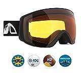 Unigear Lunettes de Ski, Lunettes de Snowboard Hyperboloïde Anti-buée pour Enfants, Ski Goggles Anti-UV400 Système de Ventilation Adapté pour Les Activités Ski Cyclisme Moto (Noir-Orange)