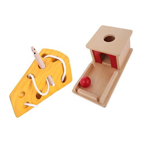 FLAMEER Vorschule Holz Montessori Pädagogisches Spielzeug Ball Match Box \u0026 Käse Labyrinth