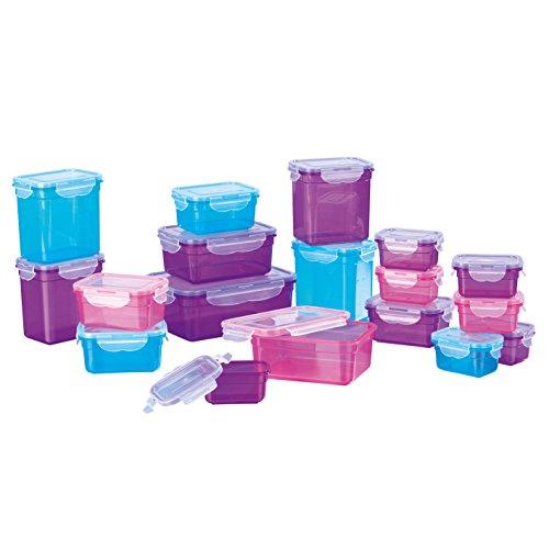 GOURMETmaxx 02003 Klick-It Frischhaltedosen | 36-teiliges BPA freies Aufbewahrungsdosen-Set (18 Dosen und 18 Deckel) Geeignet für Gefrierschrank, Mikrowelle, Spülmaschine , Mehrfarbig