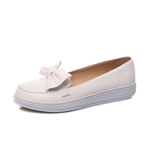 AgooLar Femme Couleur Unie Pu Cuir à Talon Bas Rond Tire Chaussures Légeres Blanc