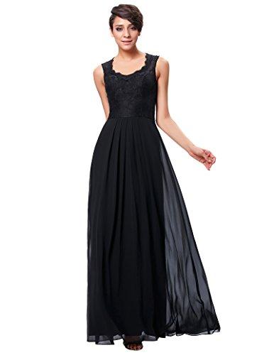 Sweet festliches kleid rundausschnit charity-ball abendkleid lang schwarz brautkleid Größe 40...