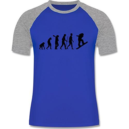 Evolution - Snowboard Evolution - zweifarbiges Baseballshirt für Männer Royalblau/Grau meliert