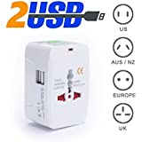 Cables Kart® Universal Adapter Worldwide Travel Adapter With Built In Dual USB Charger Ports (White)