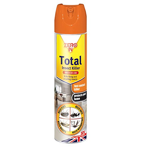 Zero In Total Insect Killer (300 ml Aerosol, Fast-Acting Control Treatment, Targets Bugs Such as Flies, Ants, Wasps, Mosquitos, Suitable for Indoor, Home Use)