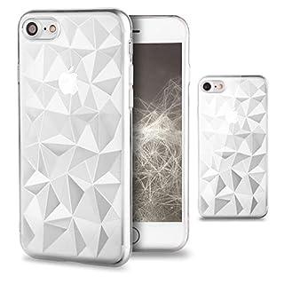 Moozy Silikon Hülle für iPhone 7 / iPhone 8, Transparent Klar - TPU Texturiert 3D Geometrisches Prism Design Schutzhülle Case