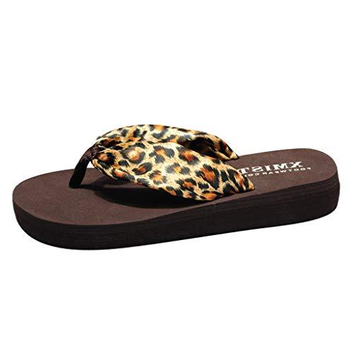 DIPOLA Damen Mode Leopard Flip Flops wasserdichte rutschfeste Muffin Flache Sandalen Strand Hausschuhe