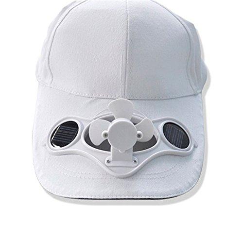 HanLuckyStars® Solarventilator Hut Kappe für Golf und Solar-Baseball-Cap mit dem kühlen Mini-Ventilator Outdoorsport Sonnenhut Unisex Weiße Golf Sonnenhut Männer