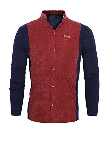 Hommes Col Montant Bloc De Couleur Manches Longues Velours Côtelé Panneau Tricot Chemise Rouge