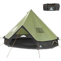 10T Outdoor Equipment Campingzelt Mojave 400 Beechnut XXL Tipi Zelt wasserdichtes 4-8 Mann Rundzelt Indianerzelt Ø 4m, Grün Grau V8, 4 bis 8 Personen - Ø 400 x 250 cm