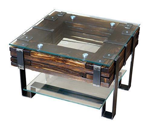 CHYRKA® Wohnzimmertisch Couchtisch Massivholz Metall Glastisch Holz Glas LEMBERG DROHOBYCZ Loft Handmade (Lemberg, 60x60 cm H=40 cm)