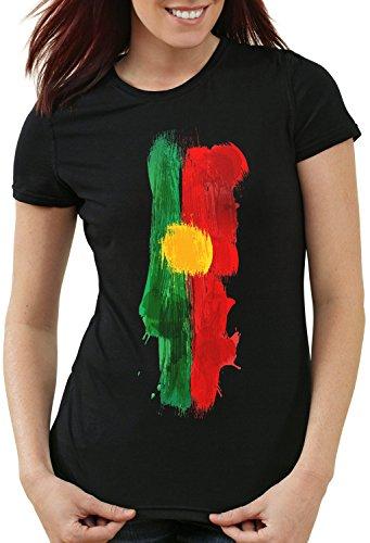 CottonCloud Flagge Portugal Damen T-Shirt Fußball Sport WM EM Fahne, Farbe:Schwarz, Größe:L