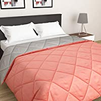 Home Spaces Microfiber 220 TC Reversible Quilt (Orange & Grey_King)
