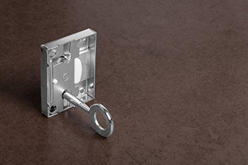 GedoTec® Möbelschloss 15mm Schrank-Schloss SET für Möbel | Stahl vernickelt | Kastenschloss links / rechts verwendbar | Markenqualität für Ihren Wohnbereich