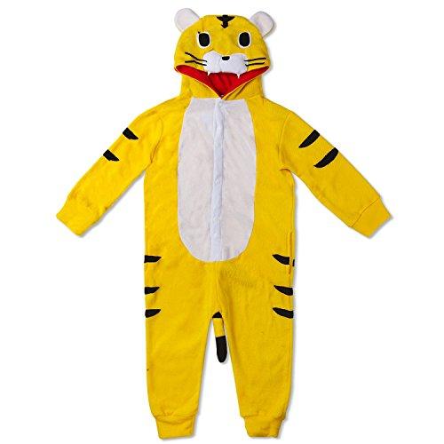 Kinder Tiger Onesie aus weichem Fleece - Tiger-Verkleidung in 3 Größen 2 - 9 Jahre für Kinder  - Faschingskostüm - Verkleidung in Schwarz Gelb ()