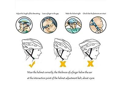 Lindou Outdoor Sports Helmet Men Women One-Piece Helmet Adjustable Bike Riding Helmet Multiple Big Ventilation Holes Bike Helmet(White+Black+Blue) for Safety from Lindou