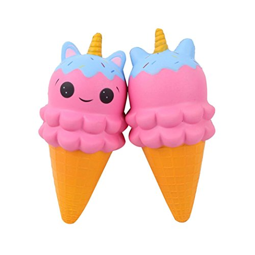Juguetes de compresión ❤️JiaMeng Unicorn Ice Cream Scented Slow Rising Squeeze Toy Collection Juguete antiestrés (Rosado)