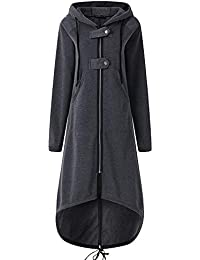 Fleecemantel Damen Mantel Rovinci Frauen Winter Hoodie Mantel Plüschjacke Warm Fleecejacke Langarm Reißverschluss Einfarbig Parka Jacke Winterjacke Steppjacke Outwear Coat Pullover Sweatjacke Tasche