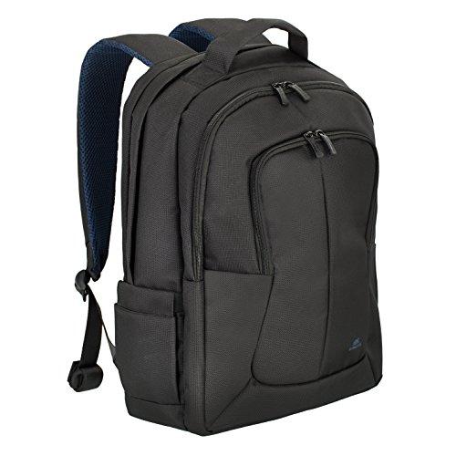 """RIVACASE Notebook Rucksack bis 17.3"""" - Elegante Tasche mit Trolley Befestigung und zwei speziellen Fächern für Wasser - Schwarz"""