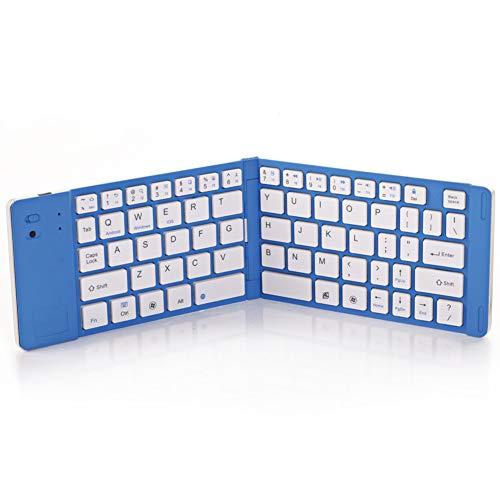 Hswt Kabellose Tastatur Bluetooth Klapptastatur Drahtlose Bluetooth-Tastatur Klappbare Tastatur Mini 66 Schlüssel Tragbare Tastatur Geeignet für Windows Android Ios,Blue