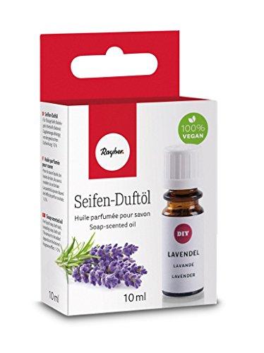 Rayher 34253000 Hobby Seifen Duftöl (100% vegan, in Glasflasche mit Kindersicherheitsverschluss, hautpflegende und wohltuende Wirkung) Lavendel, 10 ml -