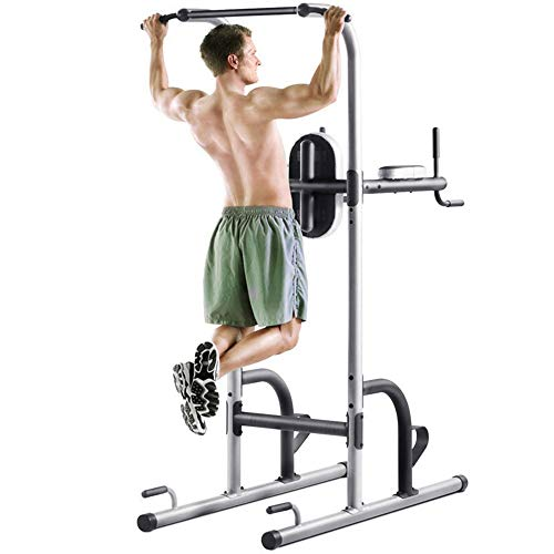 Dip-Station Einstellbare Höhe Klimmzugstange Station Turm Workout Klimmzugstation Turm W / Sit Up Bank for Indoor Home Gym Fitness Dip Ständer Dip Barren ( Color : Steel color , Size : 105*212*150cm )