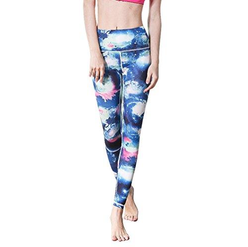 Anguang Femme Taille Haute Danse Yoga Pantalon Imprimé Legging de Course Fitness Pantalon Sport Jogging Style10