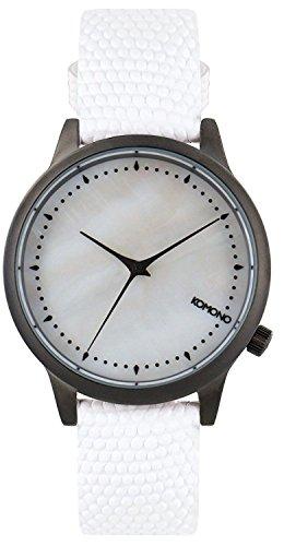 Komono Damen Quarzuhr Armbanduhr Quarzuhrwerk mit Mutter von Pearl Zifferblatt Analog-Anzeige und Weiß Lederband kom-w2701